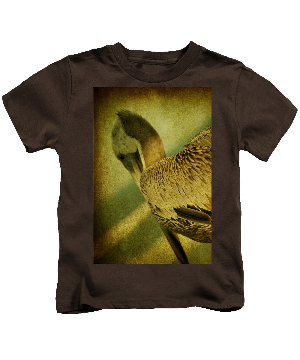 Pelican Kids T-Shirt featuring the photograph Thoughtful Pelican by Susanne Van Hulst