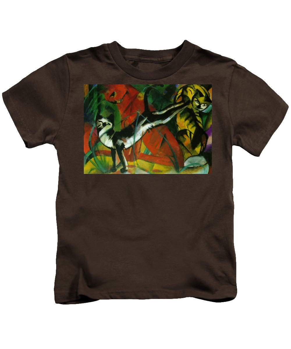Three Kids T-Shirt featuring the painting Three Cats 1913 by Marc Franz