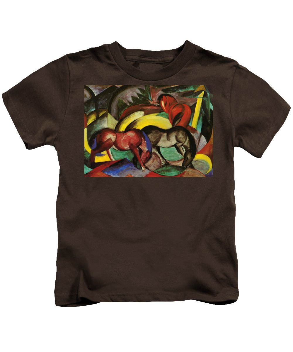 Three Kids T-Shirt featuring the painting Three Horses 1912 by Marc Franz
