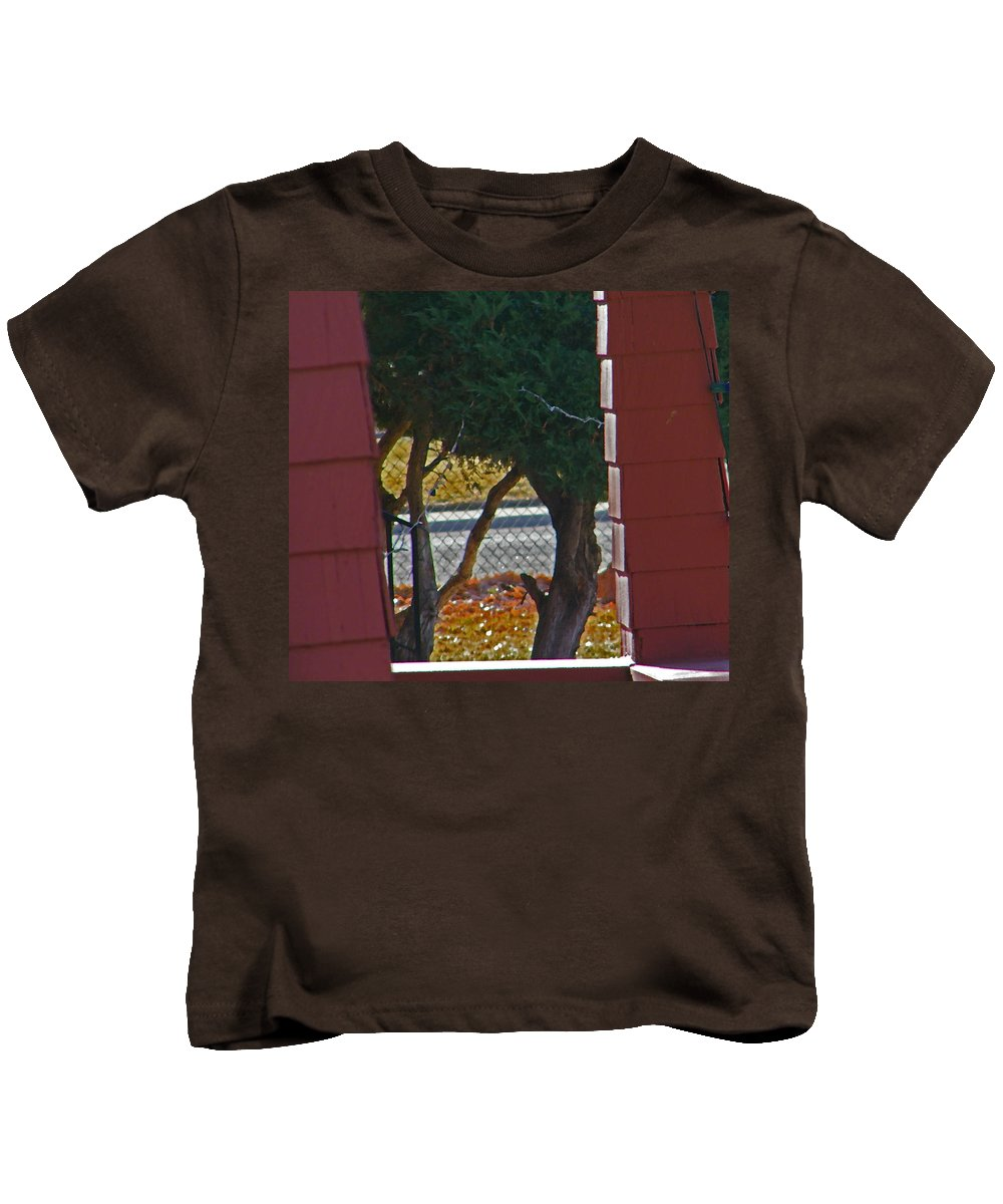 Abstract Kids T-Shirt featuring the photograph Through My Neighbors Porch by Lenore Senior