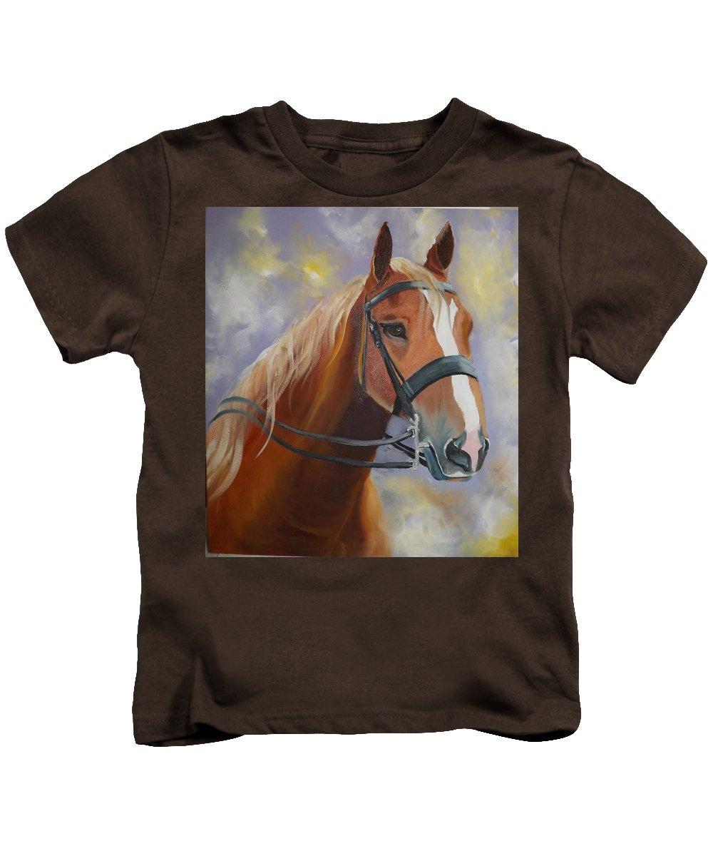 Horse Kids T-Shirt featuring the painting Thunder by Mariam Bakhsheshe