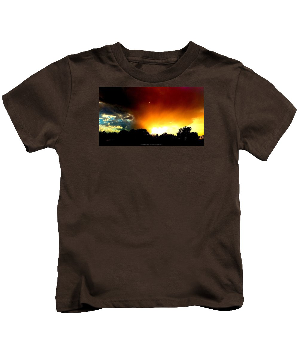 Sunset Kids T-Shirt featuring the photograph Thunderstorm Sunset by Amber Taylor