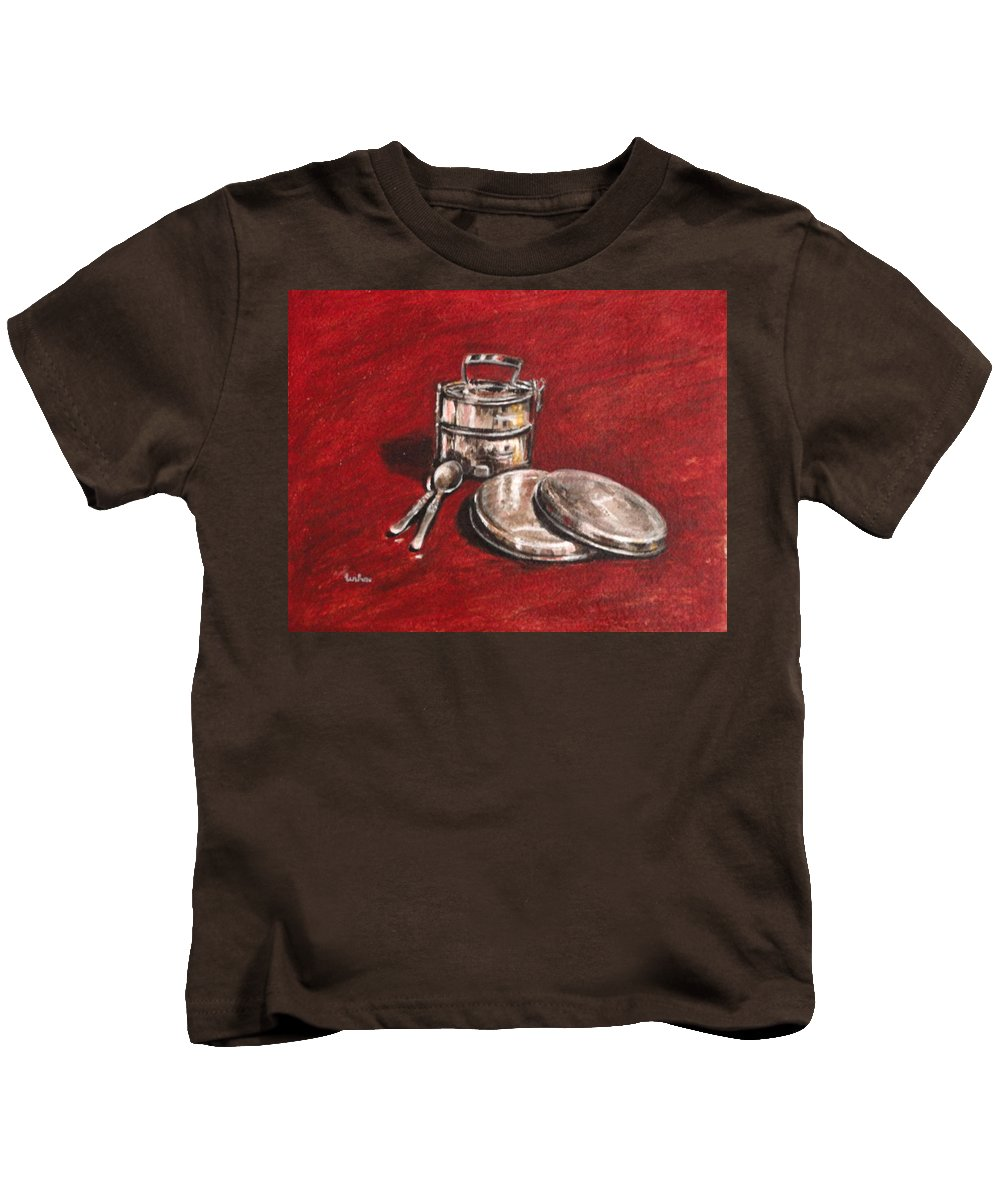 Tiffin Kids T-Shirt featuring the painting Tiffin Carrier - Still Life by Usha Shantharam