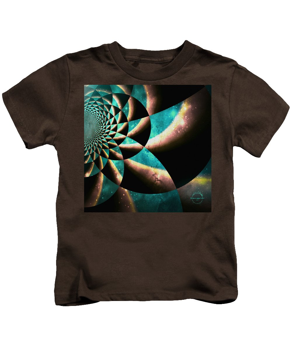 Time Travel Kids T-Shirt featuring the digital art Time Travel Galaxy Portal To The Stars - Teal Green by Absinthe Art By Michelle LeAnn Scott