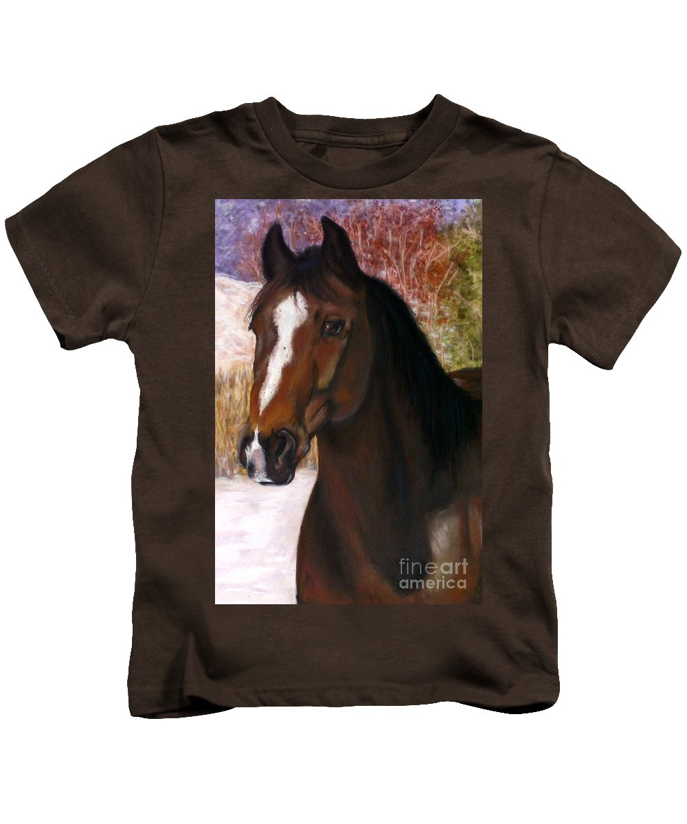 Horse Kids T-Shirt featuring the painting Toronto by Frances Marino