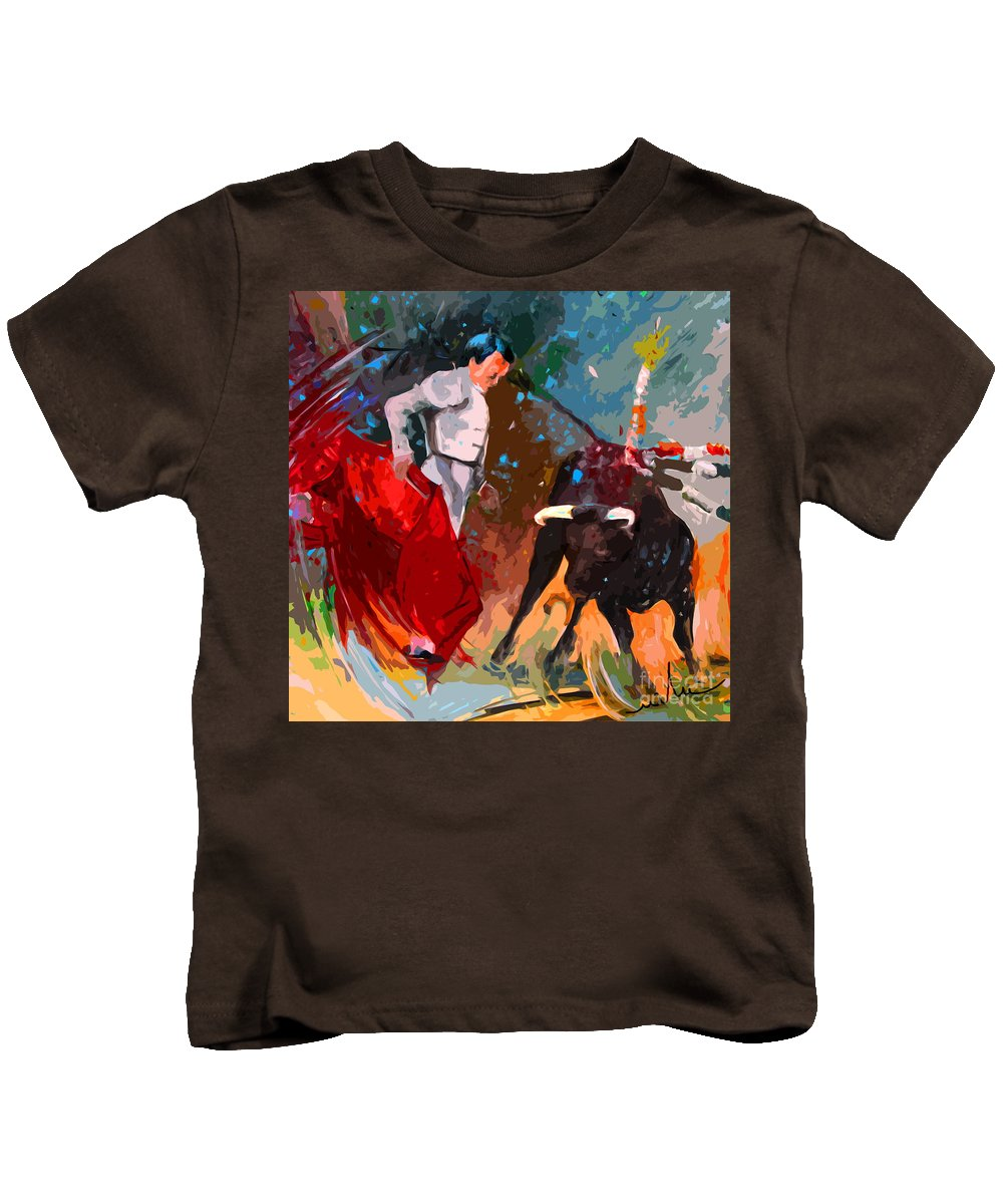 Bullfight Kids T-Shirt featuring the painting Toroscape 05 by Miki De Goodaboom