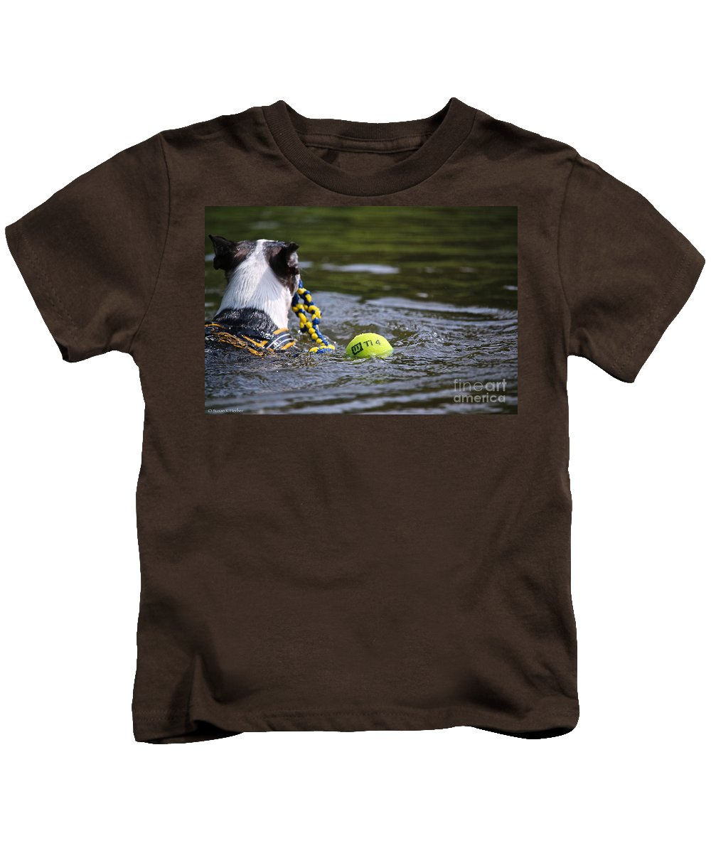 Boston Terrierboston Terrier Kids T-Shirt featuring the photograph Tow Rope by Susan Herber