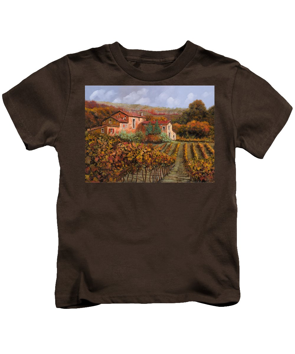 Wine Kids T-Shirt featuring the painting tra le vigne a Montalcino by Guido Borelli