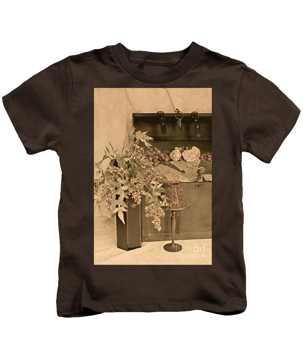 Still Life Kids T-Shirt featuring the photograph Treasure Chest Full Of Memories No.1 by Sherry Hallemeier
