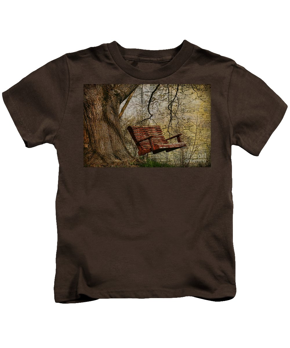 Tree Kids T-Shirt featuring the photograph Tree Swing By The Lake by Deborah Benoit