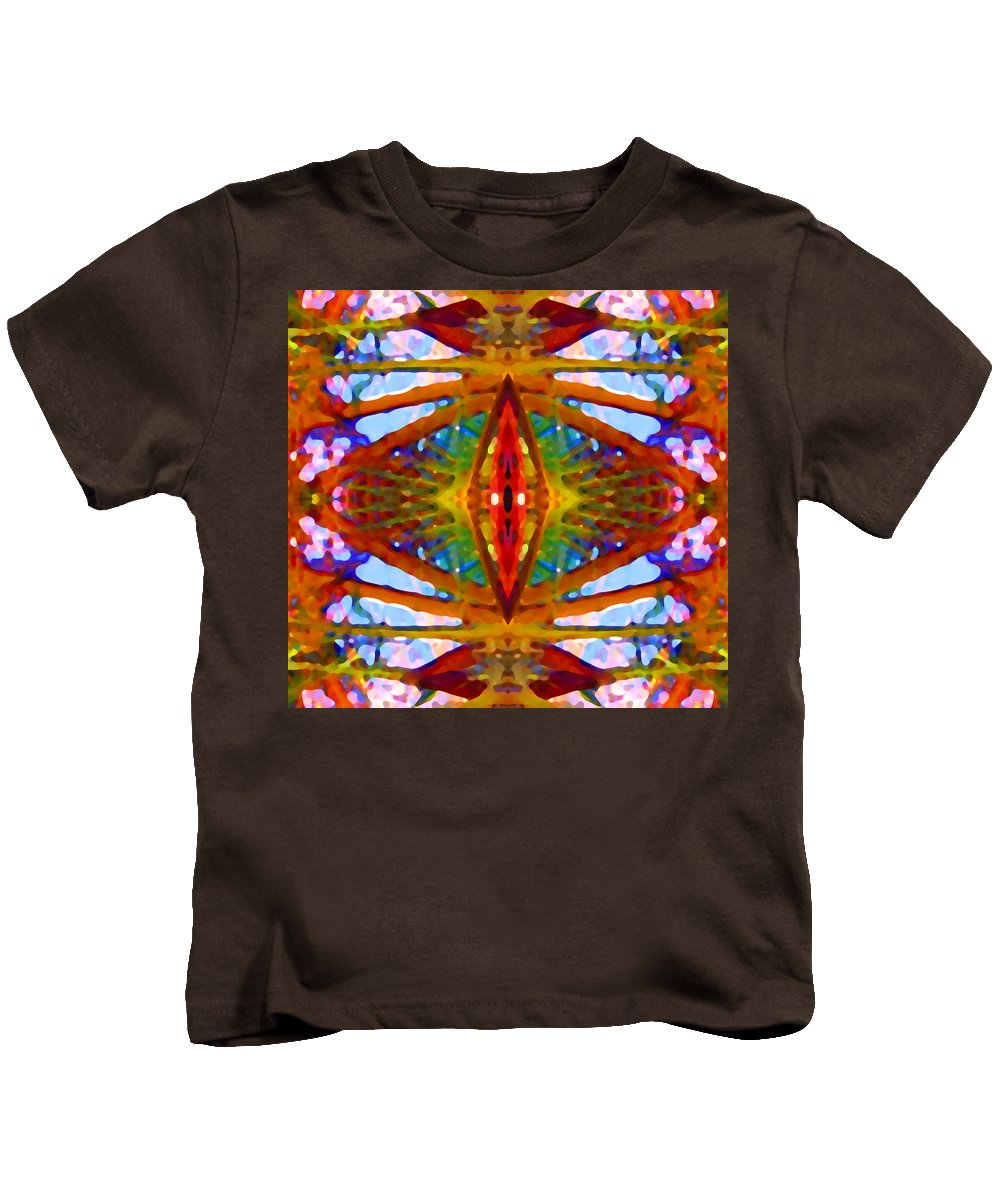 Abstract Kids T-Shirt featuring the painting Tropical Stained Glass by Amy Vangsgard