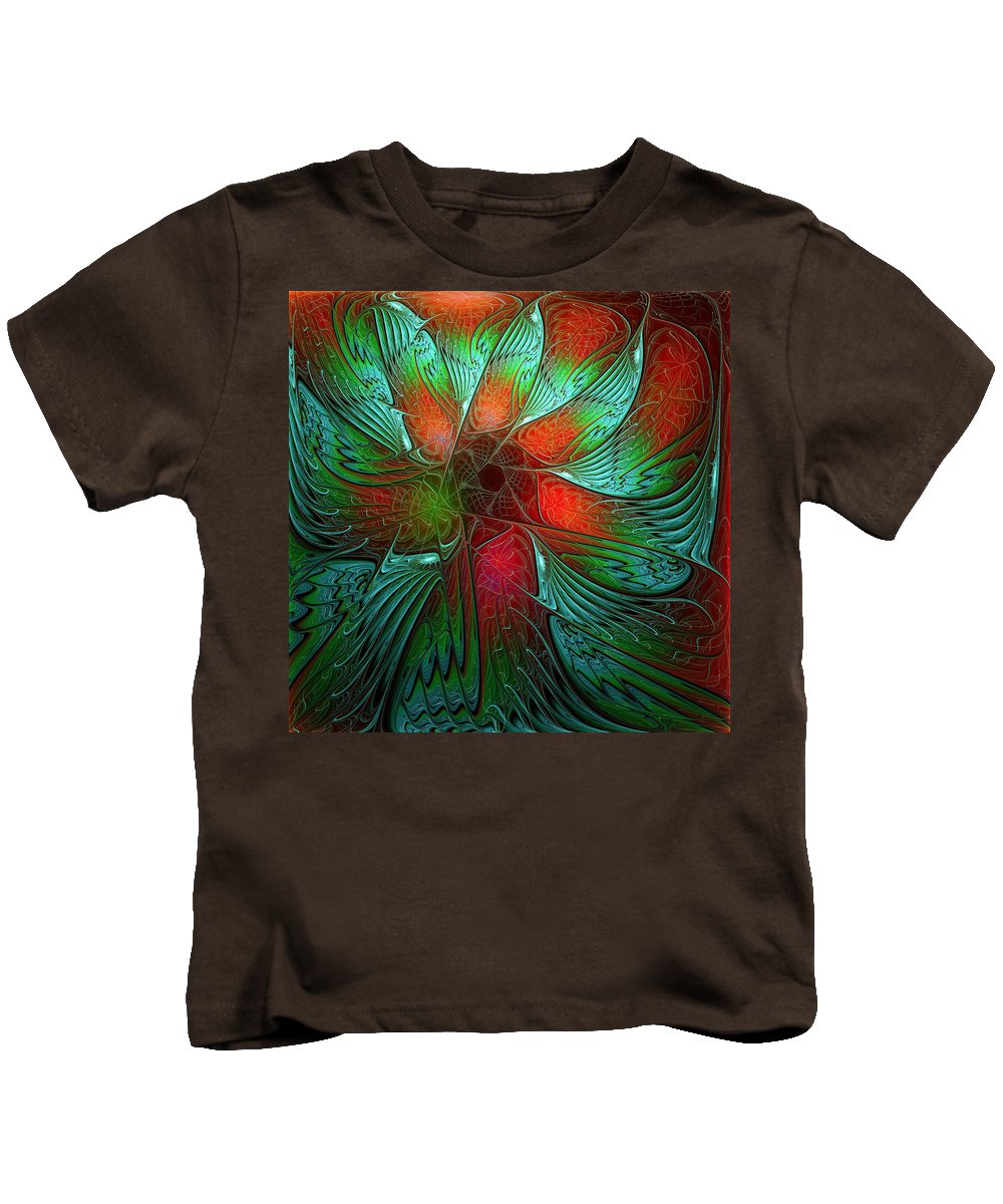 Digital Art Kids T-Shirt featuring the digital art Tropical Tones by Amanda Moore