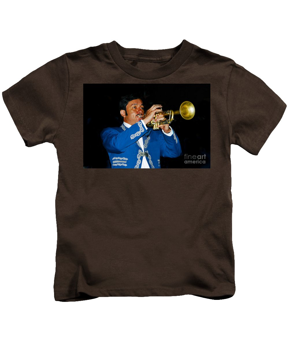 Trumpet5 Kids T-Shirt featuring the photograph Trumpet Player by David Lee Thompson