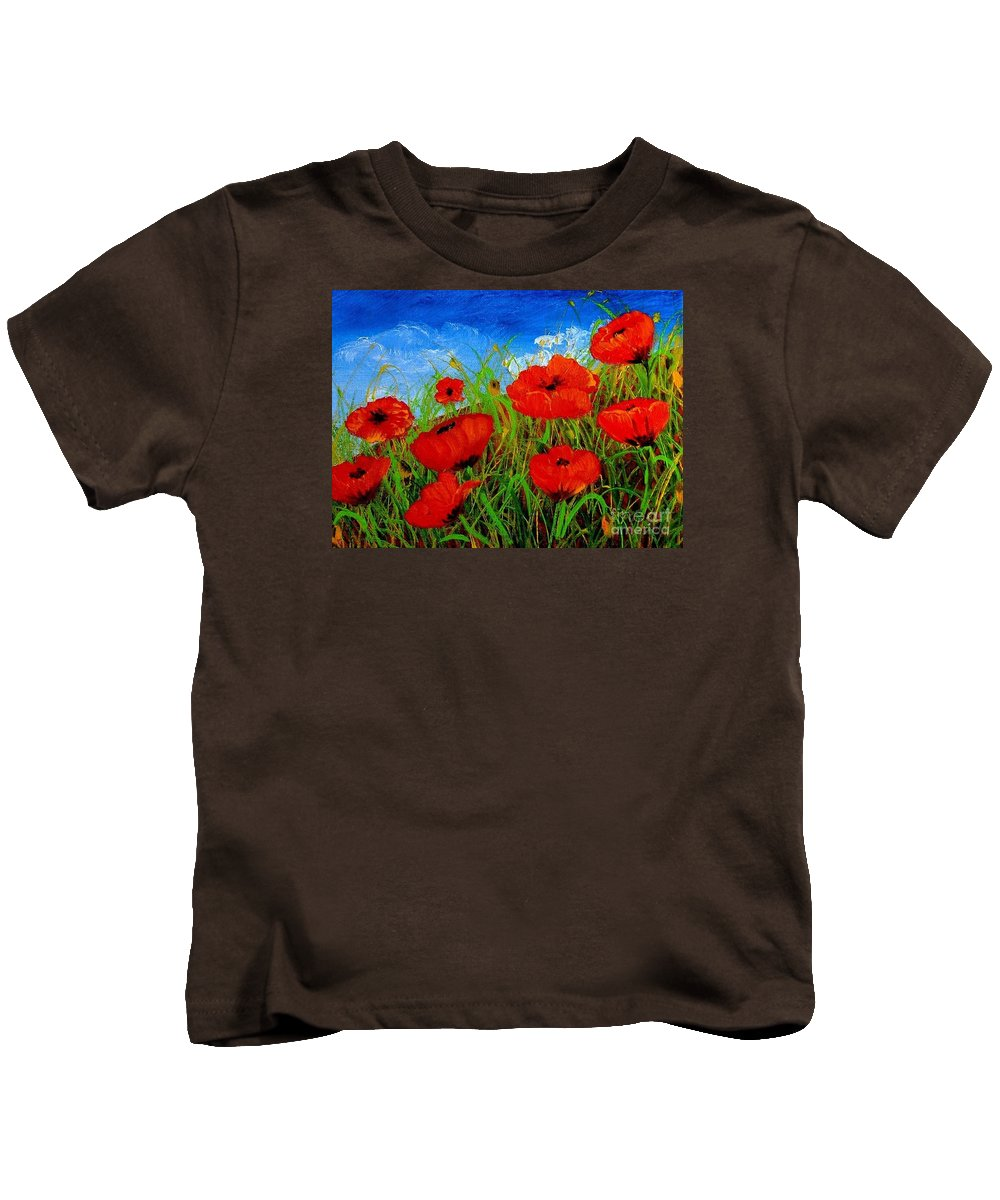 Poppies Kids T-Shirt featuring the painting Tuscan Poppies by Inna Montano