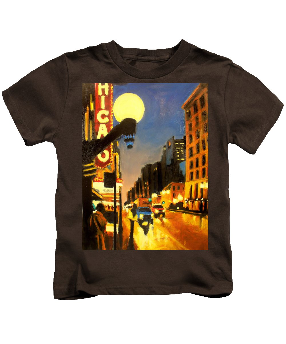 Rob Reeves Kids T-Shirt featuring the painting Twilight In Chicago - The Watcher by Robert Reeves