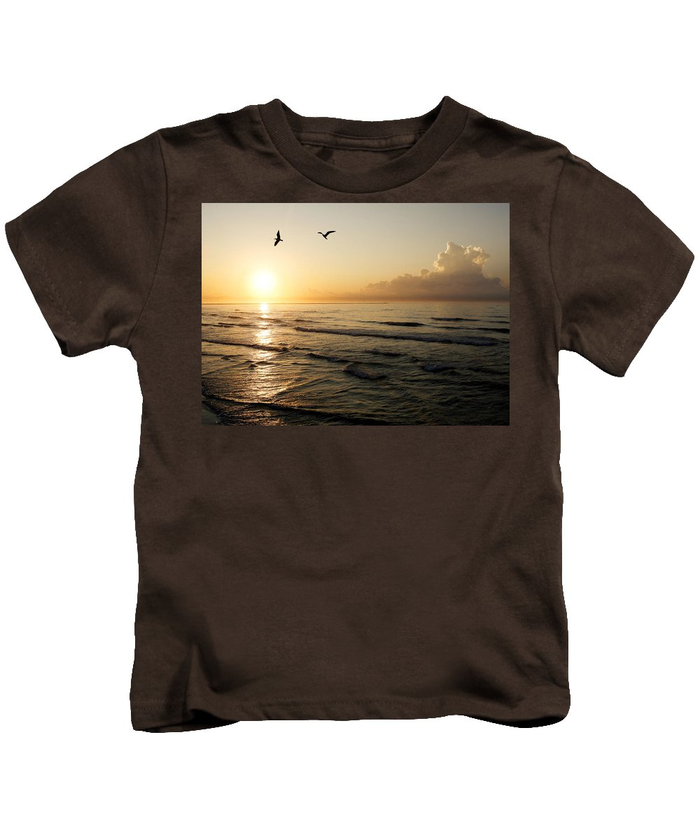 Beach Kids T-Shirt featuring the photograph Two Birds At Breakast by Marilyn Hunt