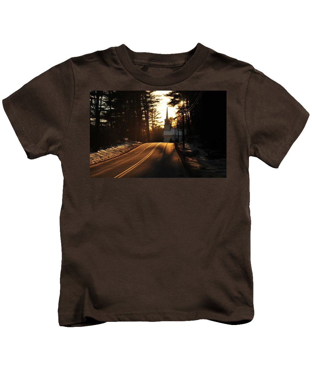 Back Roads Of New Hampshire January 28 Kids T-Shirt featuring the photograph Two Lane To Heaven by Bill Driscoll