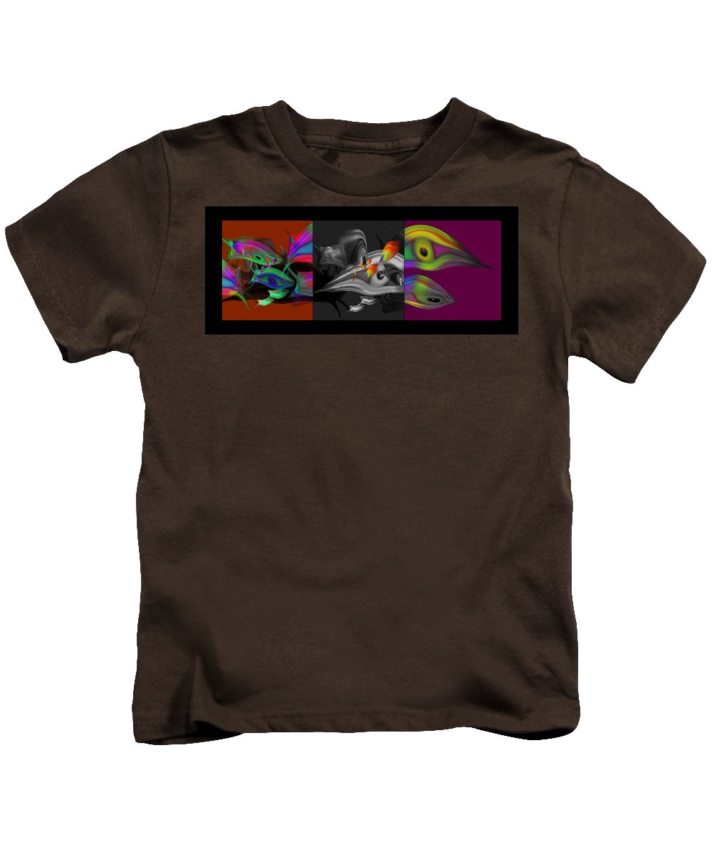 Tropical Fish Kids T-Shirt featuring the painting Underwater Monochrome by Charles Stuart