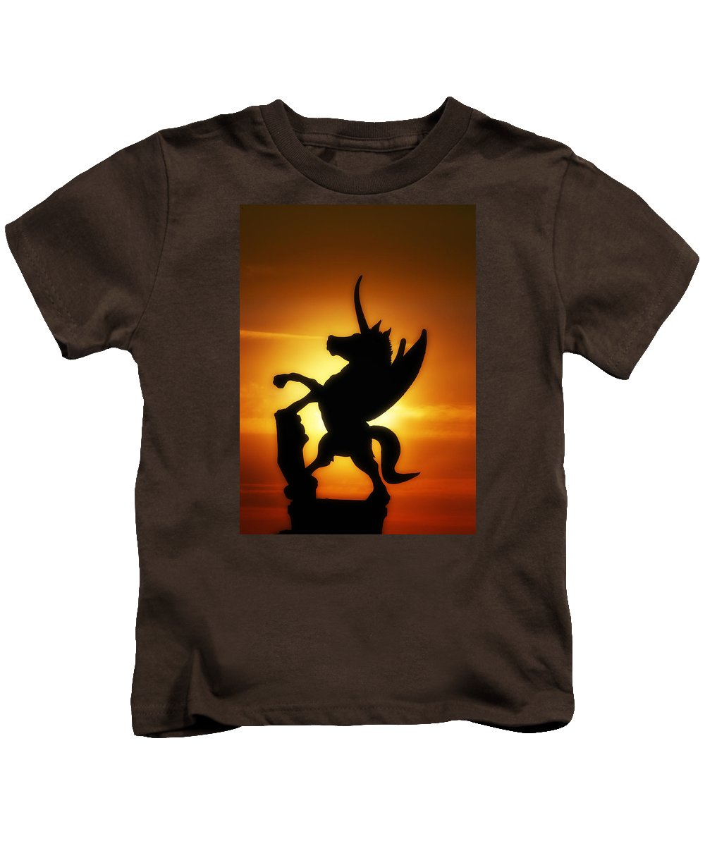 Sunrise Kids T-Shirt featuring the digital art Winged Unicorn Sentinel by Gravityx9 Designs