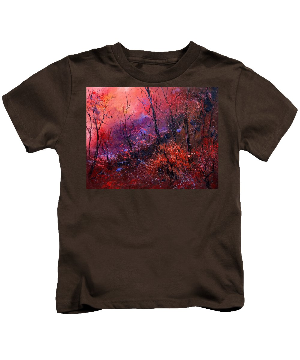 Wood Sunset Tree Kids T-Shirt featuring the painting Unset In The Wood by Pol Ledent