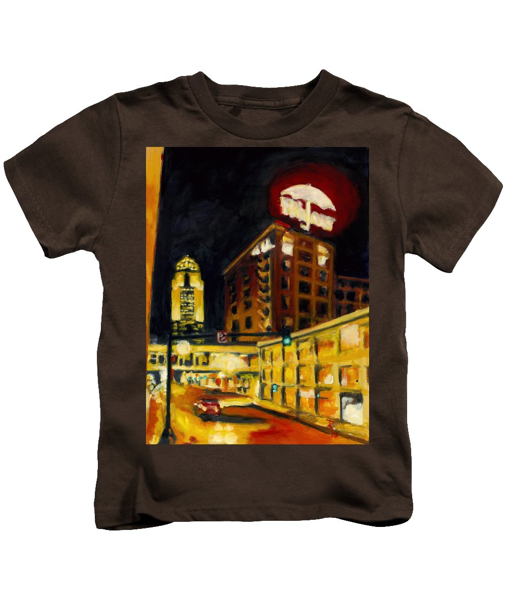 Rob Reeves Kids T-Shirt featuring the painting Untitled In Red And Gold by Robert Reeves