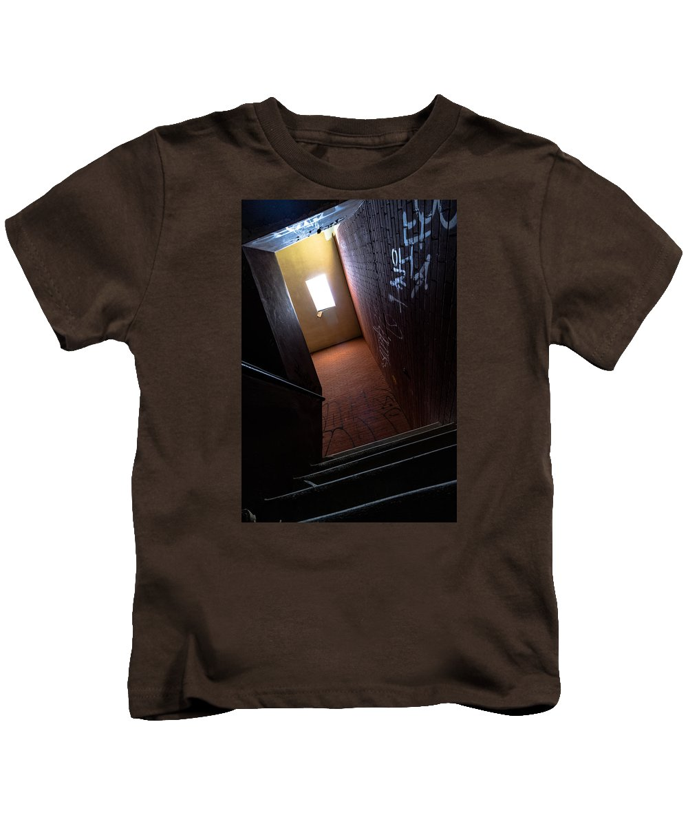 Hallway Kids T-Shirt featuring the photograph Up The Stairs by Mike Dunn