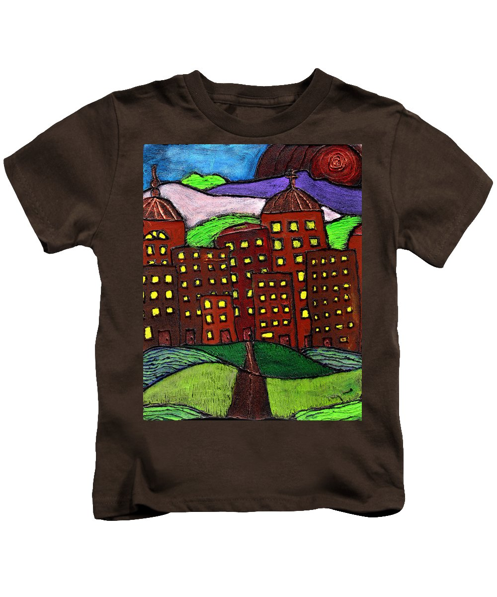 City Scape Kids T-Shirt featuring the painting Urban Legand by Wayne Potrafka