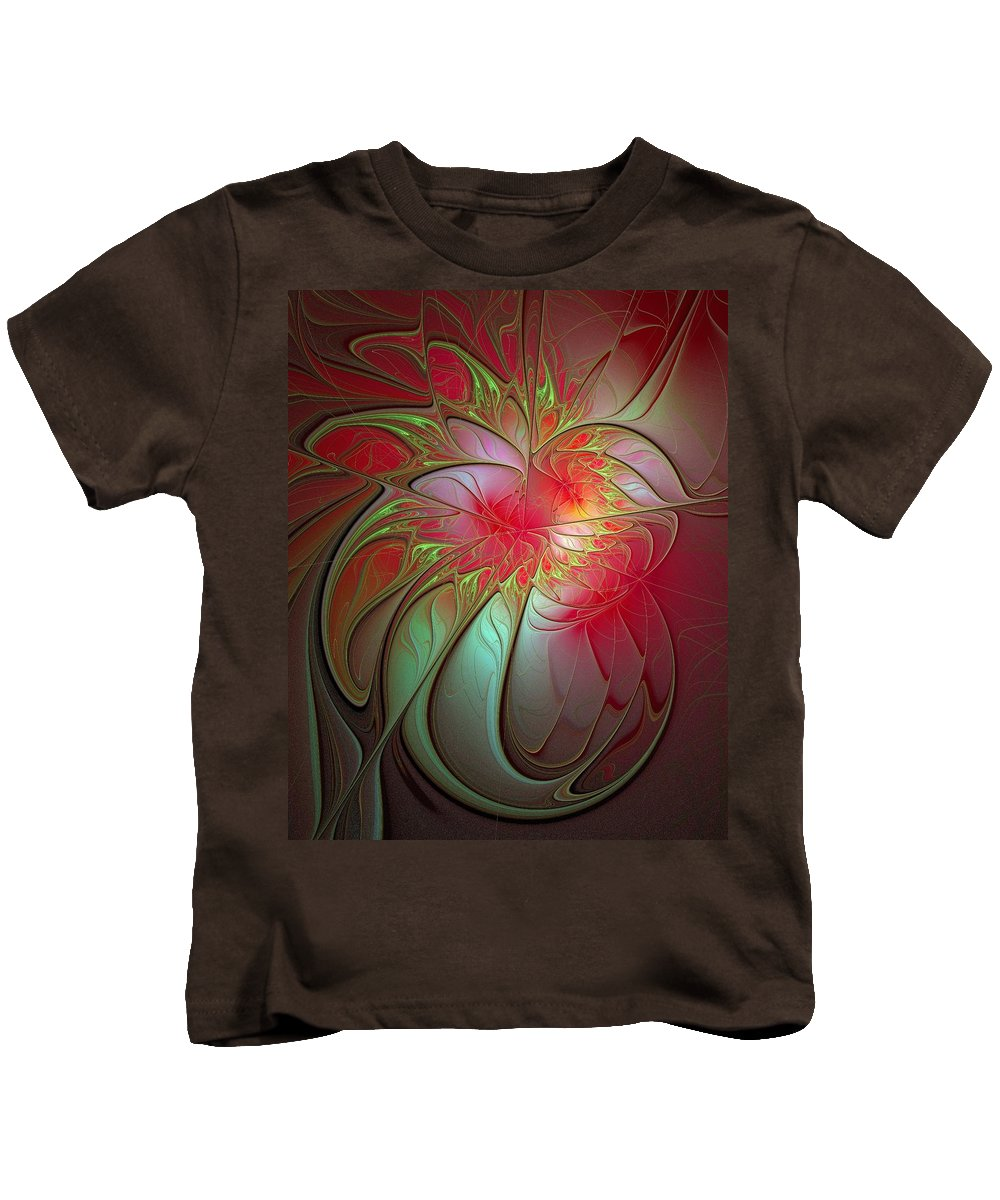 Digital Art Kids T-Shirt featuring the digital art Vase Of Flowers by Amanda Moore