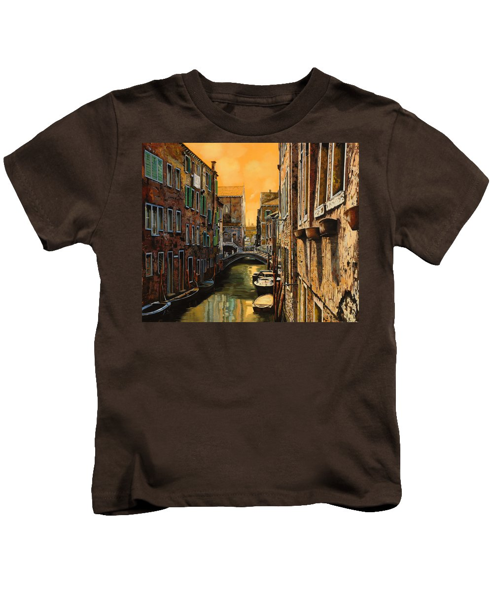 Venice Kids T-Shirt featuring the painting Venezia Al Tramonto by Guido Borelli