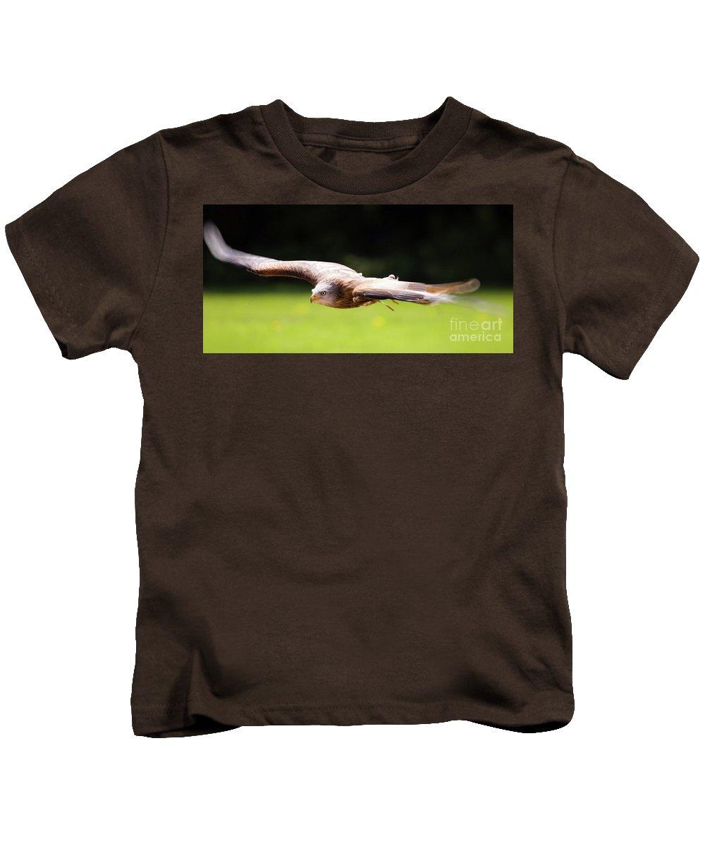 Kite Kids T-Shirt featuring the photograph Very Low Pass by Angel Ciesniarska