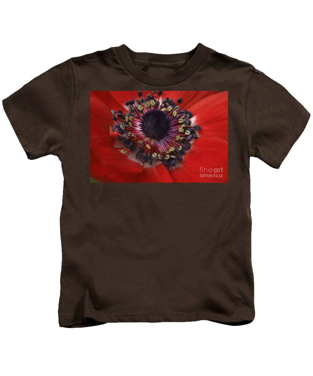 Flower Kids T-Shirt featuring the photograph Vibrant Red by Deborah Benoit