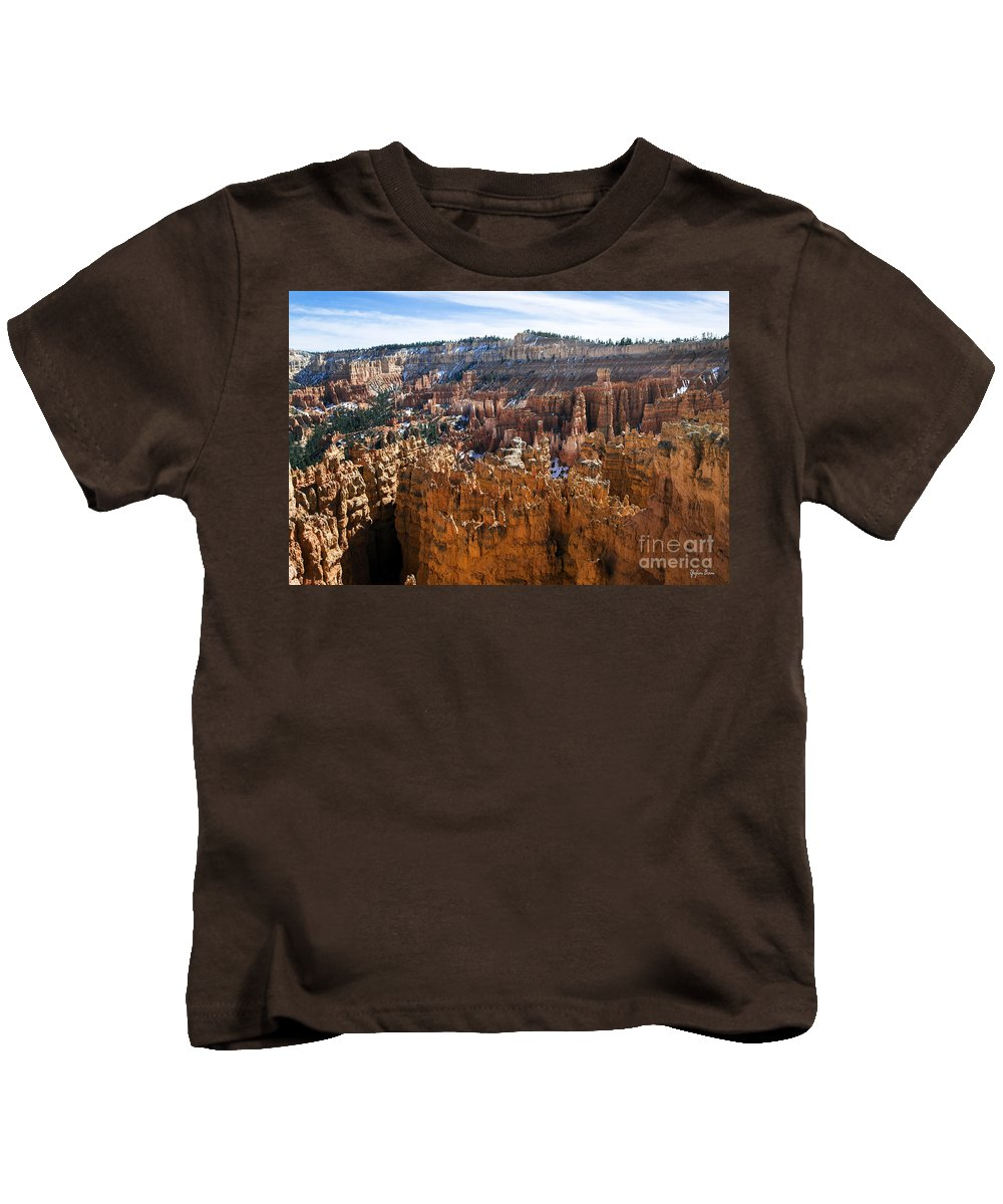 View From Rim Trail Kids T-Shirt featuring the photograph View From Rim Trail by Yefim Bam