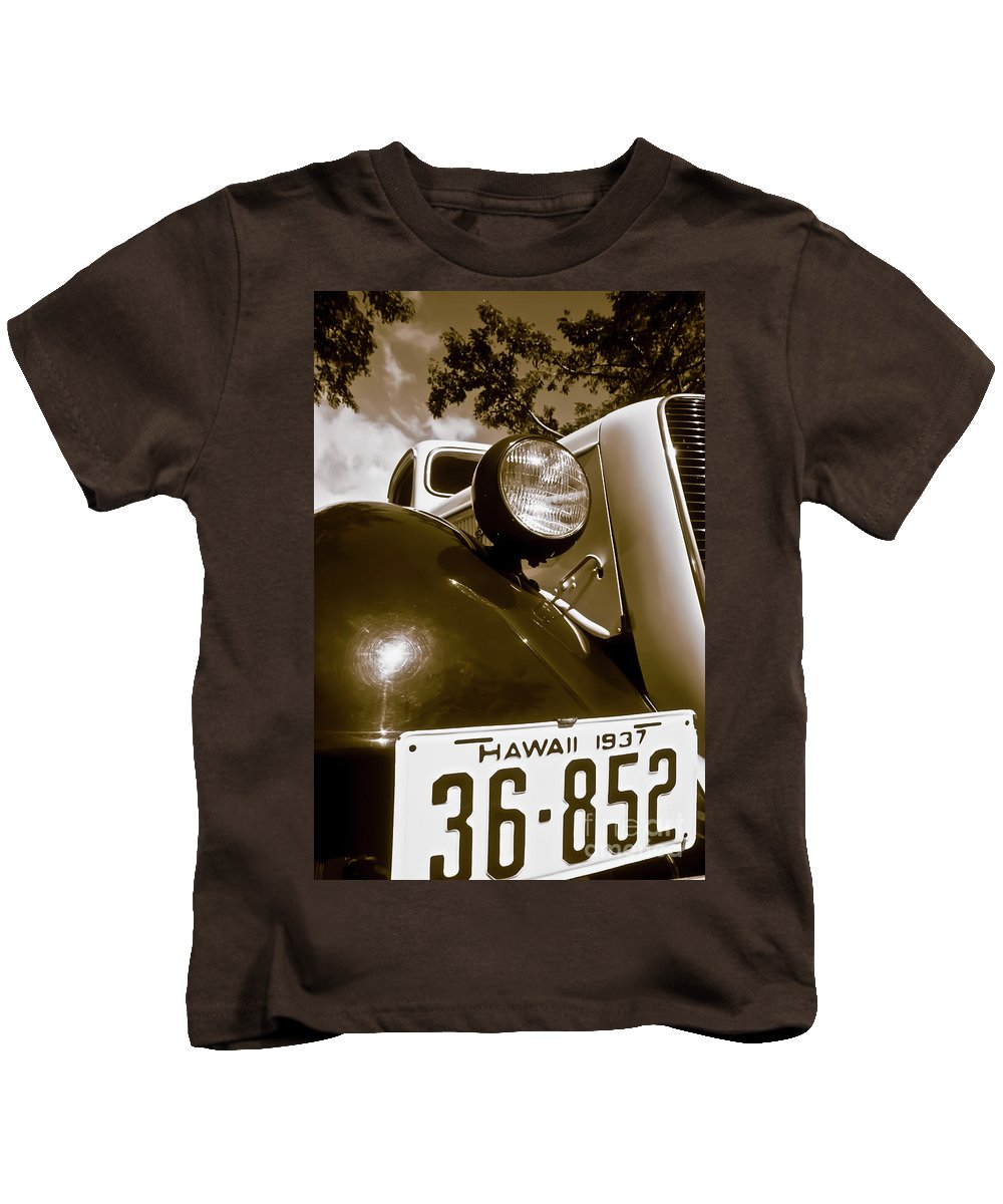 1937 Ford Kids T-Shirt featuring the photograph 1937 Ford Pickup Truck Maui Hawaii by Jim Cazel