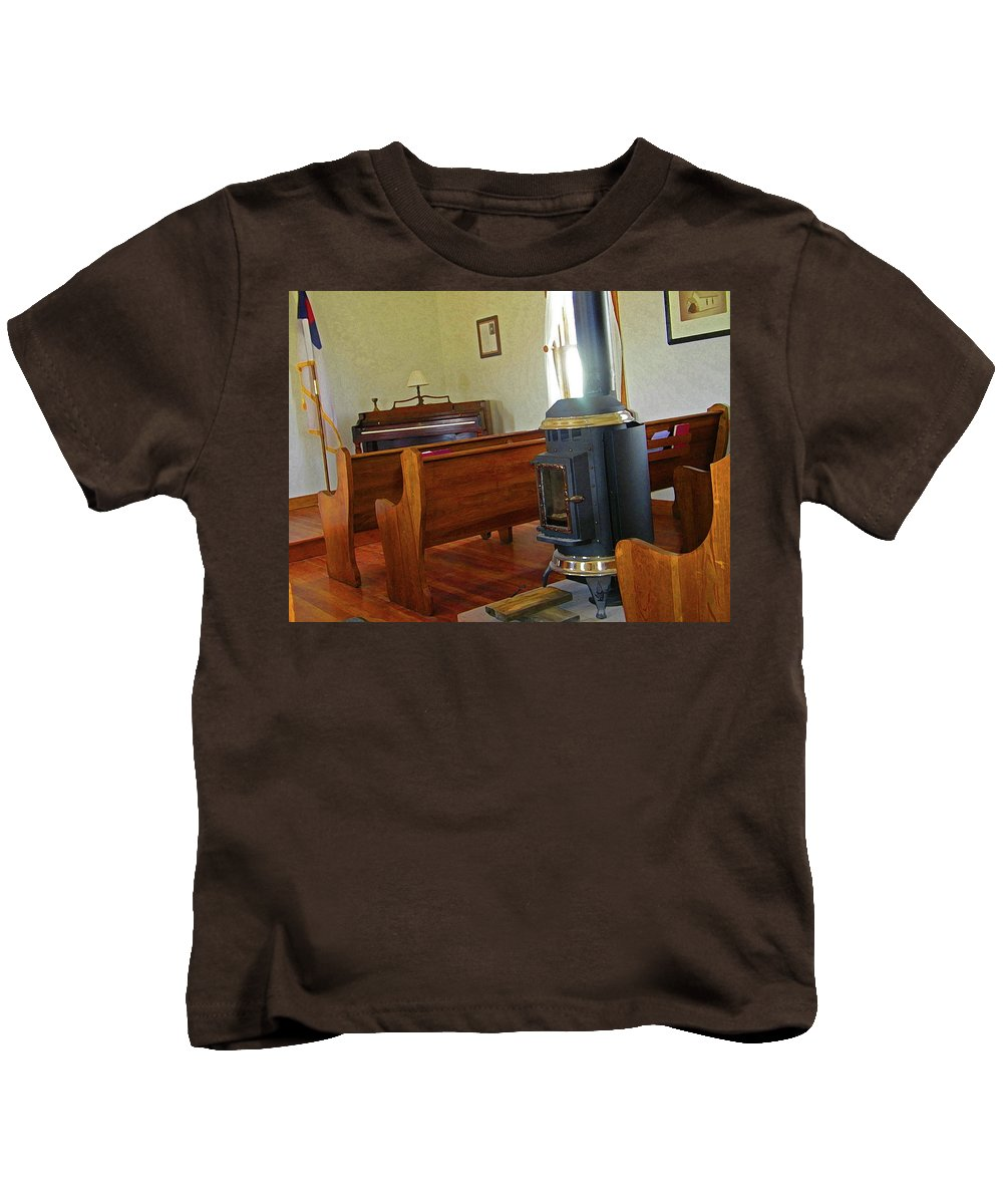 Abstract Kids T-Shirt featuring the photograph Virginia Dale - Church Interior by Lenore Senior