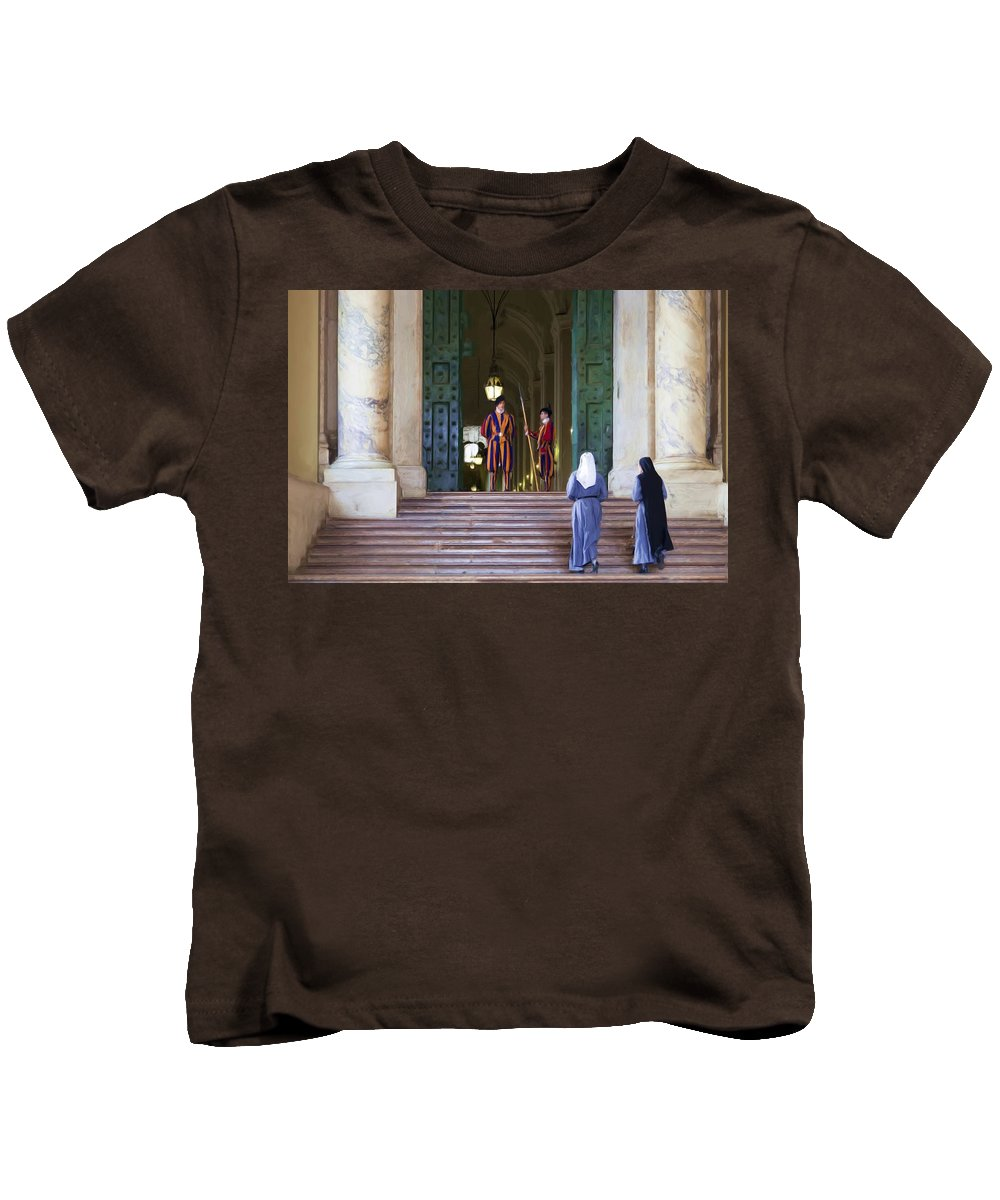 Rome Kids T-Shirt featuring the painting Visitors by Janet Fikar
