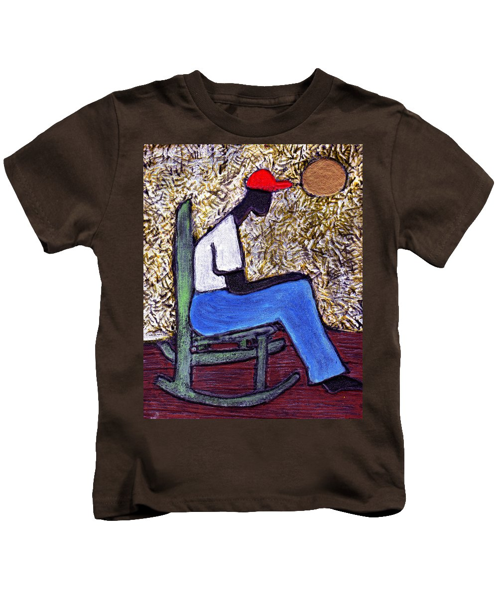 Black Art Kids T-Shirt featuring the painting Waiting For The Dream by Wayne Potrafka