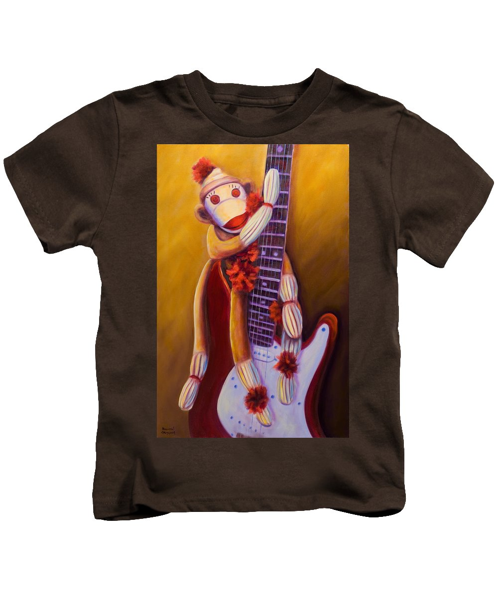 Monkey Kids T-Shirt featuring the painting Wanna Be A Rocker by Shannon Grissom