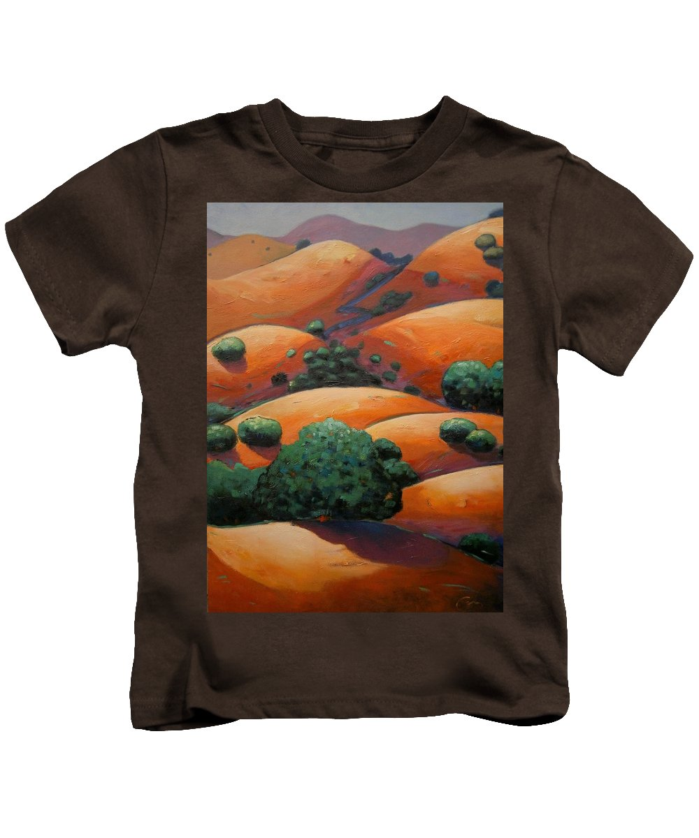 California Landscape Kids T-Shirt featuring the painting Warm Afternoon Light On Ca Hillside by Gary Coleman