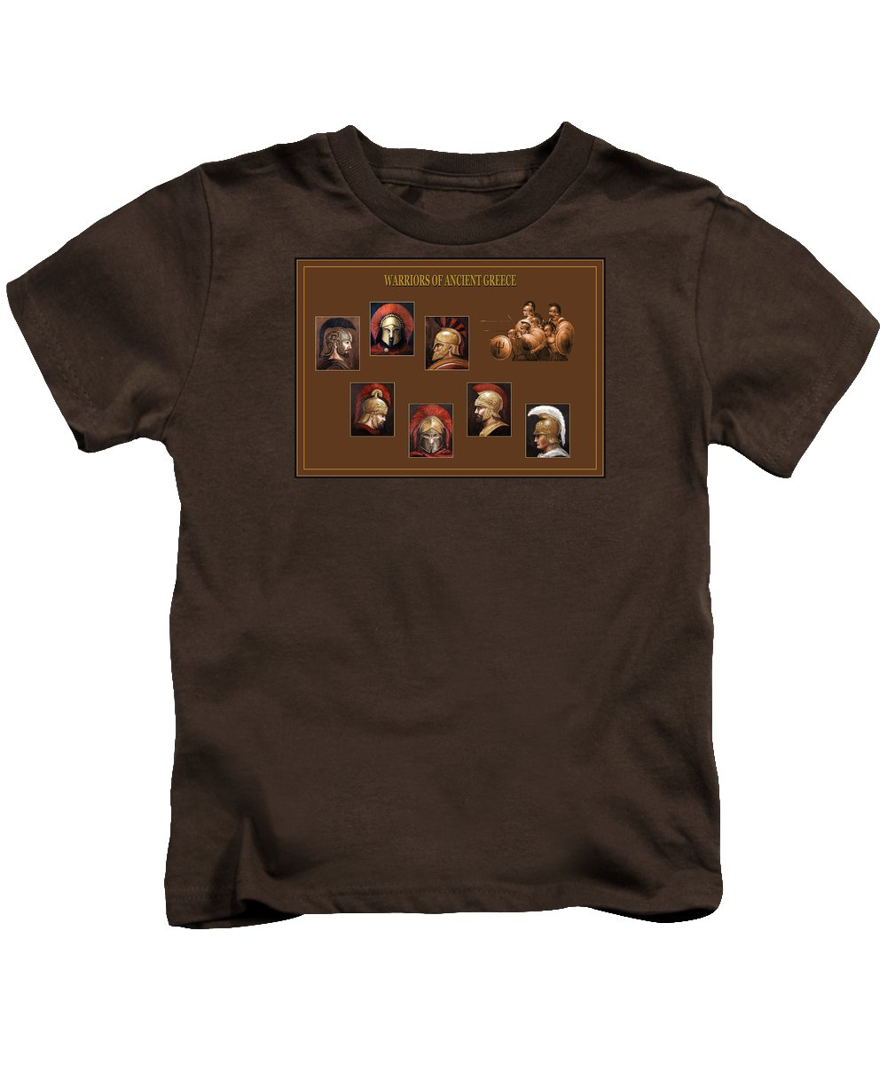 Ancient Greece Kids T-Shirt featuring the mixed media Warriors Of Ancient Greece by Arturas Slapsys