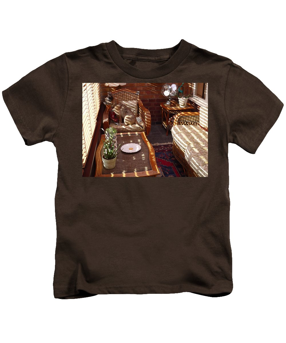 Puppy Kids T-Shirt featuring the photograph Watching The Squirrels by Charles Stuart