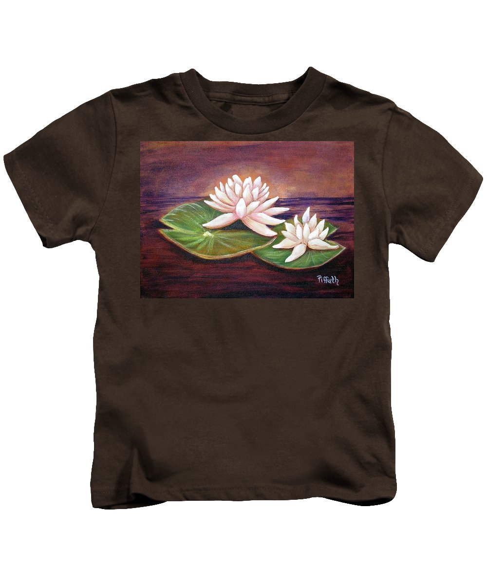 Water Lilies Kids T-Shirt featuring the painting Water Lilies by Patricia Piffath