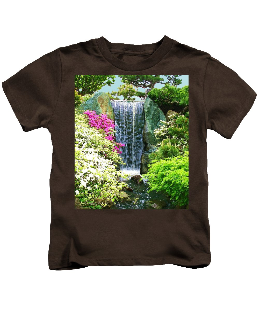 Waterfall Print On Canvas Kids T-Shirt featuring the painting Waterfall In Spring by Susanna Katherine