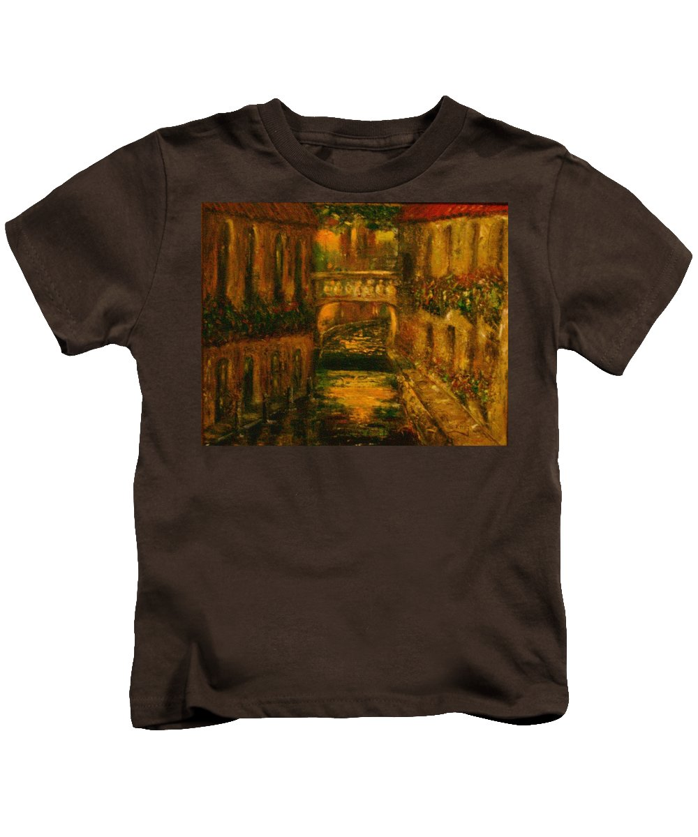 Landscape Kids T-Shirt featuring the painting Waters Of Europe by Stephen King