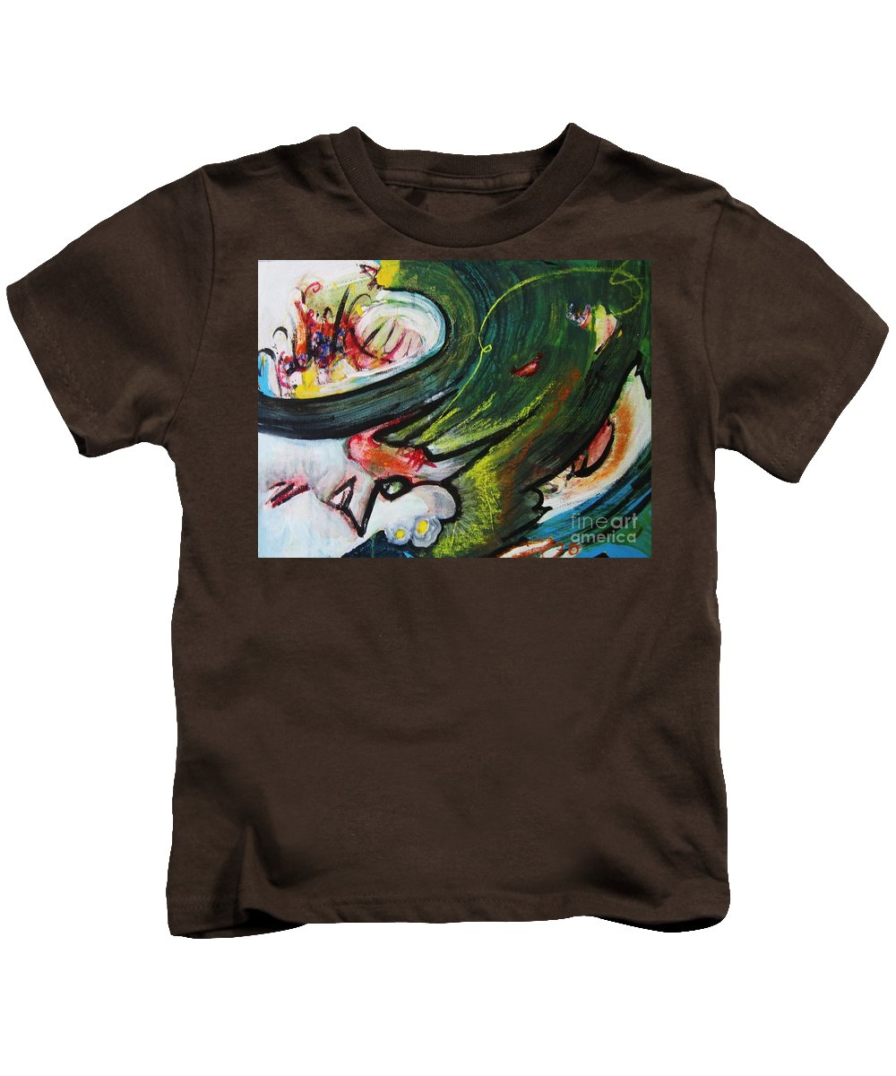 Abstract Paintings Paintings Abstract Art Paintings Kids T-Shirt featuring the painting Waves by Seon-Jeong Kim