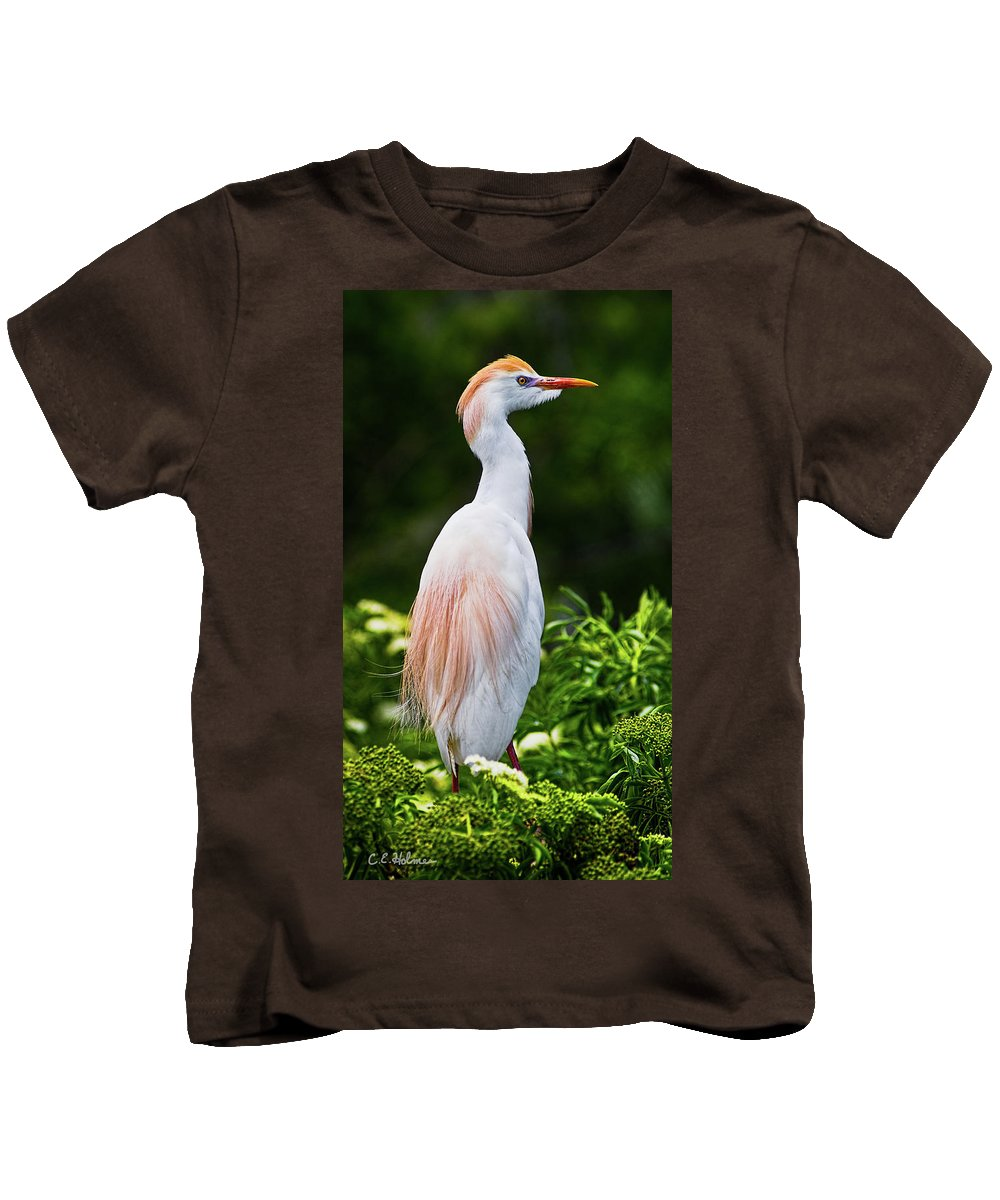 Cattle Egret Kids T-Shirt featuring the photograph Wearing Spring Colors by Christopher Holmes