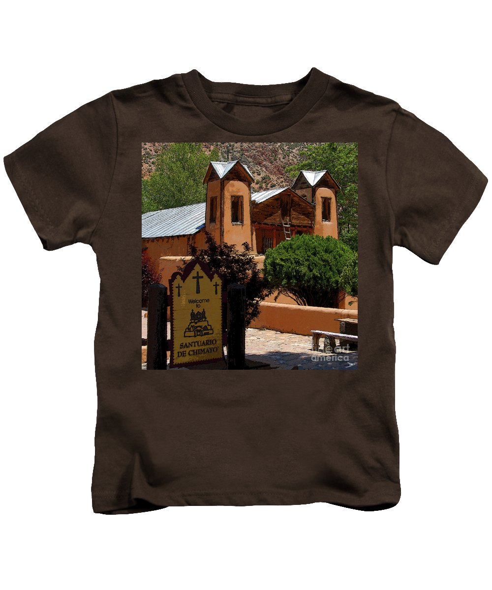 Art Kids T-Shirt featuring the painting Welcome To Santuario De Chimayo by David Lee Thompson