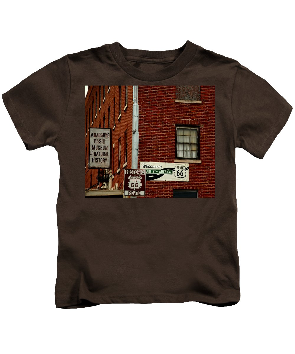 Landmark Kids T-Shirt featuring the photograph Welcome To The Main Street Of America by Susanne Van Hulst