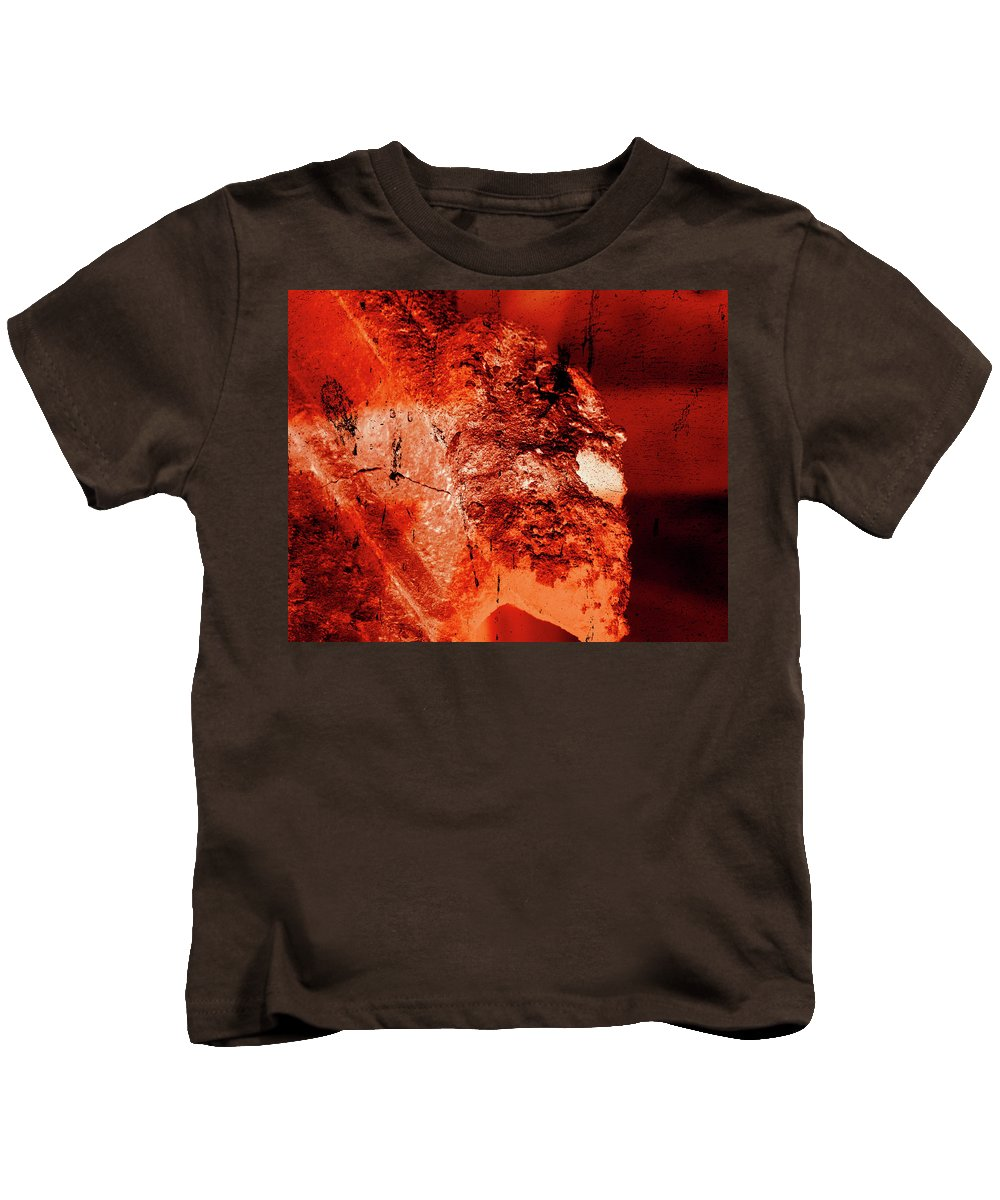 Aged Kids T-Shirt featuring the photograph Wells Cathedral Gargoyles Color Negative E by Jacek Wojnarowski
