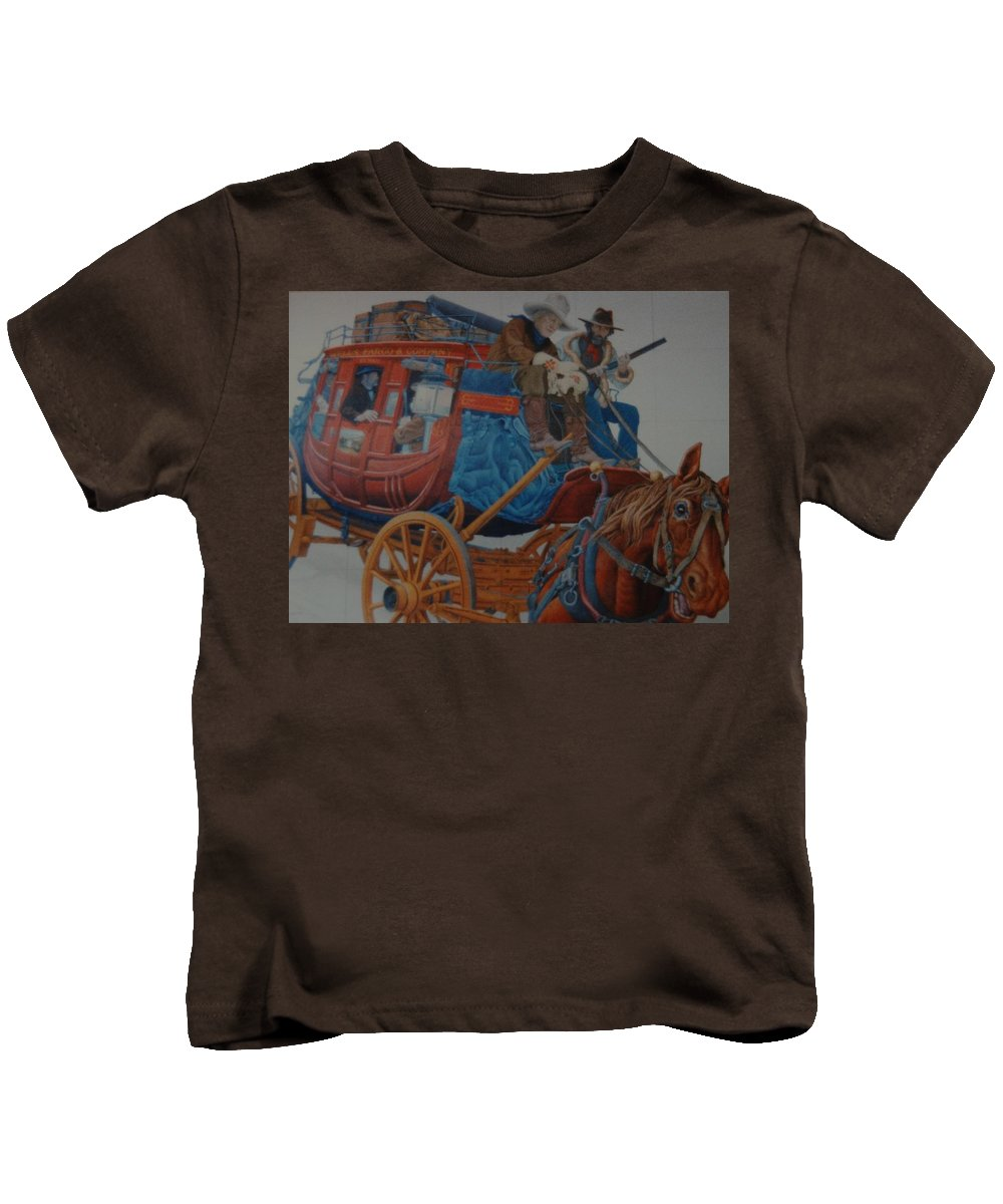 Mural Kids T-Shirt featuring the photograph Wells Fargo Stagecoach by Rob Hans