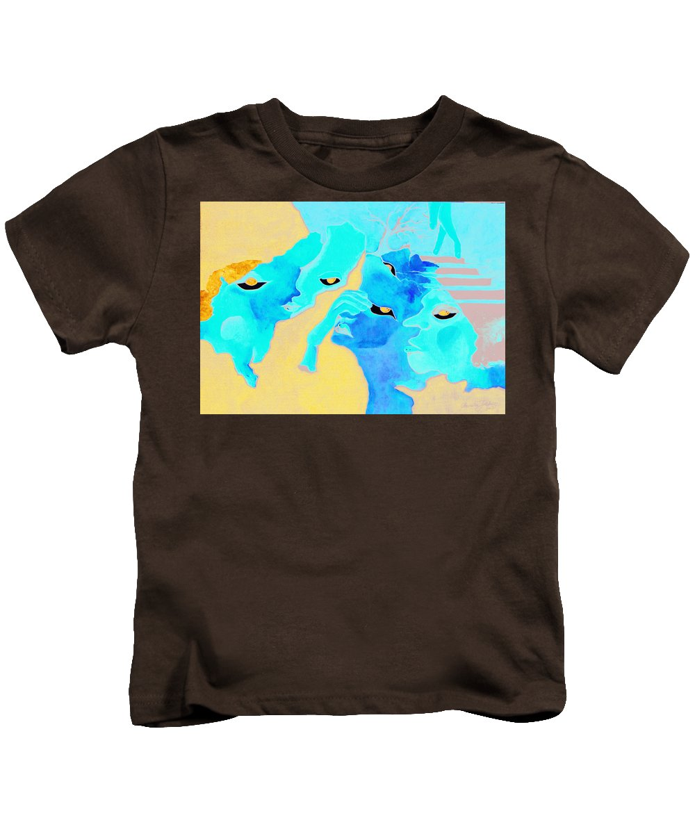 Lost Curious Red Blue People Kids T-Shirt featuring the painting Where Was I by Veronica Jackson